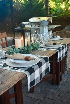 Buffalo Check Beige and Black Table Runner Outdoor Table Settings, Fall Table Settings, Outdoor Dining, Outdoor Table Decor, Farm Table Decor, Farm Tables, Wood Tables, Dining Tables, Side Tables