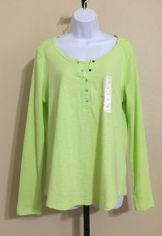 Sonoma Women's Green, Lime Green Henley Style Blouse Size L NWT #Sonoma #Blouse #Casual