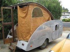 1949 Kamp Master vintage teardrop trailer, There's an idea! Standing room in a Tear Drop, Go Figure!