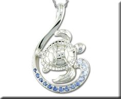 Sterling Silver Graduated Blue Sapphire Turtle Pendant