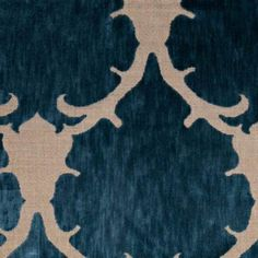 "Mokum Textiles ""Martinique"" in Lagoon....dramatic, large format, velvet on linen...so good on sumptuous pillows, a statement on a chair"