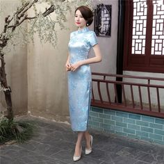 Long length Brocade Fabric Cheongsam Qipao Chinese dress J3082-16
