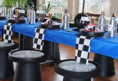 Race Car Party - now this is going all out! Car Themed Parties, Cars Birthday Parties, Birthday Ideas, Race Car Party, Fun Race, Dirt Bike Party, Race Car Themes, Transportation Party, Kids Party Decorations