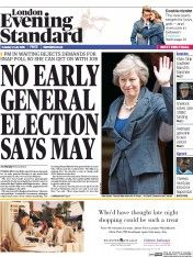 London Evening Standard (UK) Newspaper Front Page for 13 July 2016