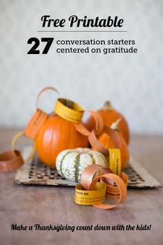 Free Printable Conversation Starters for Families: All About Gratitude- we printed these and made a countdown chain as the post suggested. Such a great way to easily incorporate thankfulness into our day this time of year AND get the kids talking to me! Thanksgiving Activities, Thanksgiving Crafts, Thanksgiving Decorations, Happy Thanksgiving, Fall Crafts, Crafts For Kids, Conversation Starters, Holiday Fun, Holiday Ideas