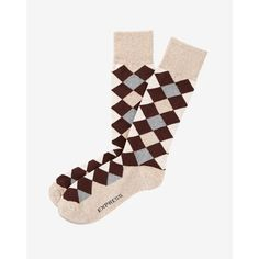 Express Diamond Dress Socks ($11) ❤ liked on Polyvore featuring men's fashion, men's clothing, men's socks, brown, mens animal print socks, express mens socks, mens brown socks, men's patterned dress socks and mens argyle dress socks