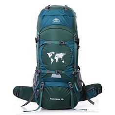 Topsky Outdoor Sports Waterproof Hiking Climbing Camping Mountaineering Internal Frame Backpack 70L Unisex Large Trekking Travel Daypacks with Rain Cover Can extension to 80L Green *** Want to know more, click on the image.