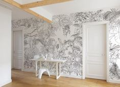 Watch out: the artist duo Caddous & Alvarez created this Jungle Tropical wallpaper for Ohmywall in the spirit of a mural art. Bedroom Murals, Wall Murals, Tropical Wallpaper, Black And White Wallpaper, Black White, Home Wallpaper, Interior Design, Home Decor, Floral Wallpapers