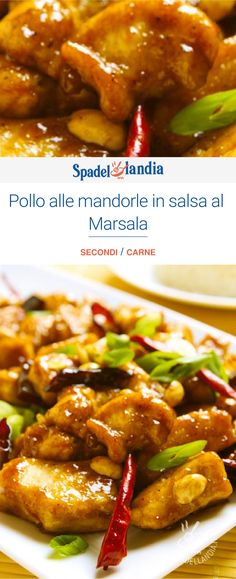 The Chicken with almonds in Marsala sauce recalls oriental cuisine, in particular Chinese cuisine. Marsala Sauce, Feta, Oriental, Pancit, Best Dinner Recipes, Food Preparation, Chicken Wings, Family Meals, Granny Smith