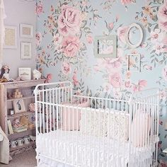 Floral nursery wallpaper accent wall - gorgeous, with touches of vintage/shabby chic! via @conveythemoment