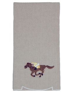 Natural Linen with Embroidery. Shown as 15 X 21 Guest Towel. Also available as fingertip towel and cocktail napkin.