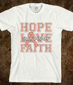 Endometrial Cancer Hope Love Faith Shirts by www.giftsforawareness.com  #cancerawareness #awarenessribbonshirts #EndometrialCancer