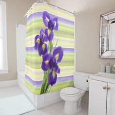Beautiful Purple Lilac Irises Watercolor Painting Shower Curtain - spring gifts style season unique special cyo
