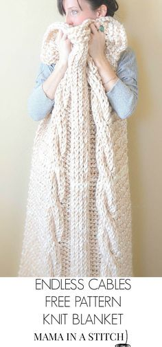 Beautiful chunky knit cabled blanket, free pattern from @MamaInAStitch