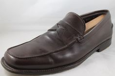 PRADA Mens Brown Leather Slip On Penny Loafer Shoes 9 D Made in Italy #PRADA #LoafersSlipOns