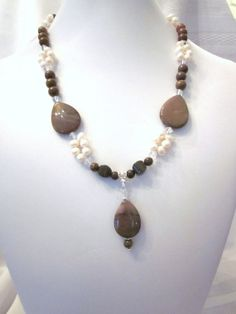 Marvelous Mookaite and White Fresh Water Pearls Necklace with Pendant, (Mookaite, Moukite, Mookite) Jasper, Unique, One of a Kind, SRAJD