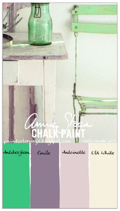 COLORWAYS  Pairing green and purple. Annie Sloan Chalk Paint Antibes Green with Emile accents