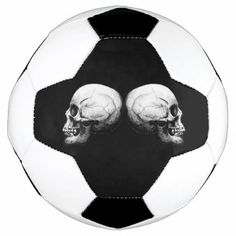 Profile Skull Black and White Soccer Ball - black gifts unique cool diy customize personalize