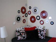 Um pouco loquaz: Dicas de decoração: Discos de vinil e cds