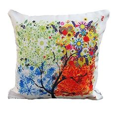 DECORLUTION 18 X18  Decorative Cotton Linen Square Throw Pillow Case Cushion Cover Throw Pillow Shell Pillowcase for Sofa  Colorful Tree *** Check out the image by visiting the link.