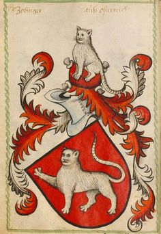 Cats on the coat of arms of Zobinger family, 1450-1480