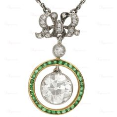 BELLE EPOQUE Diamond Emerald Platinum 18k Yellow Gold Pendant