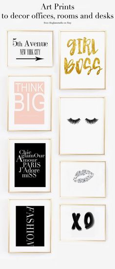 Wall gallery with lots of fashion prints, the best wall decor ideas for office room and desk , click on to buy the prints