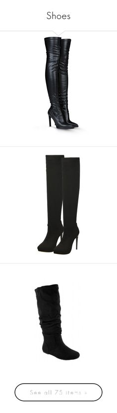 """""""Shoes"""" by maryemmanuel on Polyvore featuring shoes, boots, heels, botas, stella mccartney, black, black leather boots, leather boots, black over-the-knee boots and high heel loafers"""