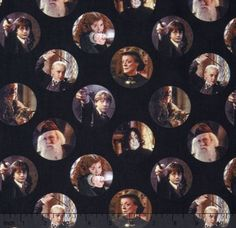 Harry Potter Fabric / Harry Potter, Character Circles Black Digitally Printed Yardage / Camelot 2380203J / Fabric By The Yard & Fat Quarters by SewWhatQuiltShop on Etsy