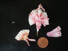 1:12 Scale Hand-Made Miniature  PINK PARASOL GLOVE & FAN MATCHING SET