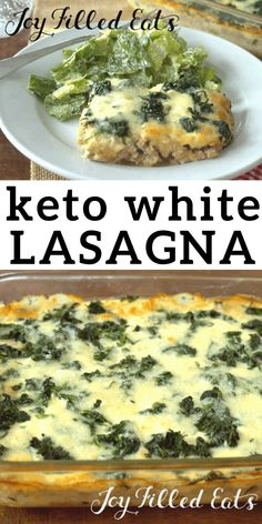 Lazy White Lasagna - Low Carb, Keto, THM S, Gluten Free This Lazy White Lasagna is inspired by the Lazy Lasagna in the THM Cookbook. It uses spinach instead of noodles White Lasagna, Lazy Lasagna, Keto Lasagna, Ketogenic Recipes, Low Carb Recipes, Diet Recipes, Healthy Recipes, Dessert Recipes, Primal Recipes