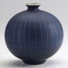 HARRISON McINTOSH; Glazed stoneware vase; Paper label and HM stamp; 5 1/2'' x 5 1/2''
