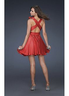 Stunning Satin-like Chiffon Deep V Short Homecoming Dress