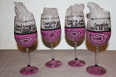 Pink Bandana Wine Glasses  - how cute are these...