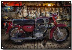 HONDA CLASSIC CD 175 MOTORCYCLE METAL SIGN,VINTAGE HONDA MOTORCYCLES,RETRO…