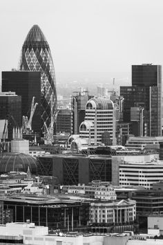 Taken from the London Eye looking North over the City. The famous London Gurkin skyscraper is most prominent. Taken using Canon with a Tamrom Converted to black and white using dpp. London Skyline, London City, London Eye, England Uk, London England, London Photography, City Photography, London Calling, Beautiful Buildings