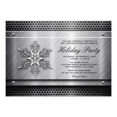 Metal Business Holiday Party Invitations. Perfect for a construction, automotive, a steel company, hvac, welding, etc. business Christmas party.