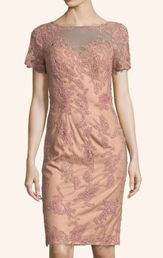 Short Sleeves Lace Cocktail Dress Peach Mother of the Brides Dress #dress #gown #wedding #cocktaildress #formaldress #formalgown #partydress #macloth #motherdress