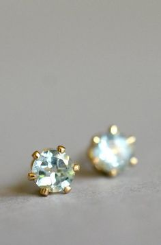 Tiny pale blue topaz stud earrings tiny blue