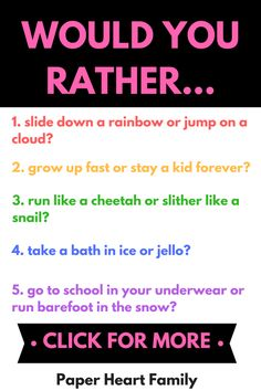 Make the most of your next family game night, road trip, classroom free time or family dinner time with these funny would you rather questions for kids. These are great conversation starters to get your kids thinking critically and laughing too! Silly Questions To Ask, Would You Rather Questions, Family Game Night, Family Games, Family Family, Night Kids, Group Games, Funny Would You Rather, Conversation Starters For Kids