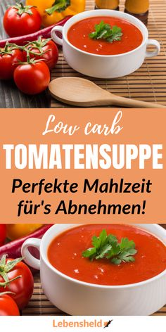 Low Carb Rezept: Rösttomatensuppe - super einfach - Low carb Rezepte - Recipe for a super tasty low carb tomato soup. This recipe is amazing! Easy Soup Recipes, Easy Healthy Recipes, Pork Recipes, Slow Cooker Recipes, Low Carb Recipes, Vegetarian Recipes, Drink Recipes, Appetizer Recipes, Roasted Tomato Soup