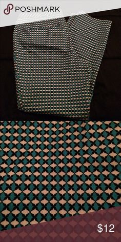 Worthington pants Turquoise, black, and white printed pants. 56% cotton, 42% polyester, & 2% spandex. Wear with a black blouse and cute flats/heels to any kind of event. So colorful and cute! Worthington Pants Ankle & Cropped