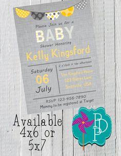 Grey Yellow Baby or Bridal Shower by PolkaDotPinwheel on Etsy, $10.00