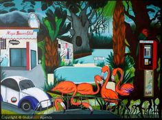 "Artist:Elena Vera Solodovnikova.  Title:""Magic Beaver Club"".  Size:50x70x3cm.  Materials:Acrylic on Canvas.    €497.45"