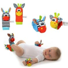 New Pair Baby /Infant Toy Soft  Hand Wrist Strap Rattles/Animal Socks Foot Finders Developmental Toys