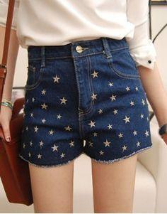 Navy High Waist Stars Embroidery Denim Shorts