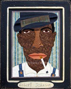 Robert Johnson x Original art by self taught fabric artist, Chris Roberts-Antieau. Artwork is framed behind glass. Chris Roberts, Robert Johnson, Portrait Illustration, Graphic Illustration, Illustrations And Posters, Fiber Art, Folk Art, Original Art, African