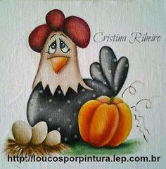 Loucos por pintura - Aulas de pintura em tela e tecido: Como pintar uma linda galinha. Aula completa. Pintura em tecido.