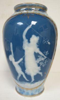 """Limoges Art Nouveau Vase - France 1940 H: 10"""""""