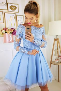 Blue lace tulle homecoming dress, Satin Appliques Short Homecoming Dress with Full Sleeves Cute Girls Cocktail Party Gowns Short · HotProm · Online Store Powered by Storenvy Homecoming Dresses Long, Hoco Dresses, Bridesmaid Dresses, Formal Dresses, Short Prom, 1950s Dresses, Graduation Dresses, Bridal Dresses, Vintage Dresses